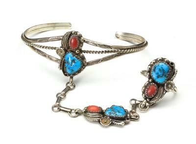 Vintage Sterling Silver Turquoise Coral Slave Cuff Bracelet with Attached Ring