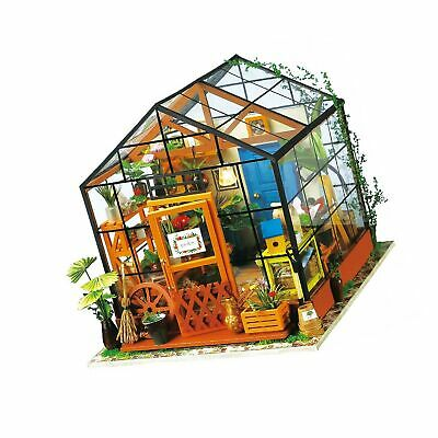 ROBOTIME DIY Dollhouse Wooden Miniature Furniture Kit Mini Green House with L...