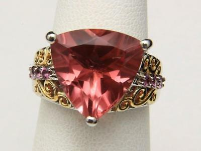 Vintage Cocktail Ring Sterling Silver & Pink Gemstone Gold Wash Accent Size 6