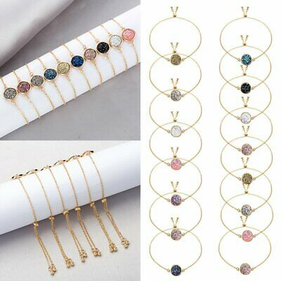 Unique Gift 18K Gold Plated Crystal Round Chain Bracelet Women Bangle Jewelry