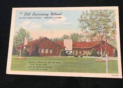 Hinsdale, Illinois Postcard OLD SPINNING WHEEL Restaurant Roadside Linen c1940s