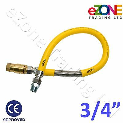 """Flexible Commercial Gas Hose 1m Yellow Braided Pipe 3/4"""" Quick Release 1000mm"""