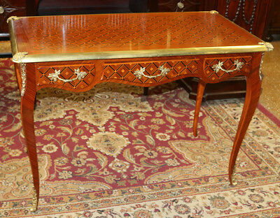 Best Inlaid French Walnut Bronze Bureau Plat Petite Writing Table Desk C1920