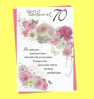Age 70th Ladies Birthday Card Traditional Floral Flowers Female Women 70