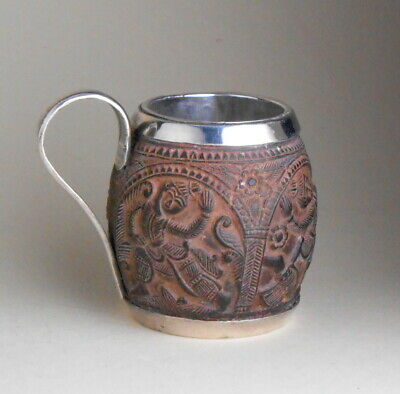 1890 Anglo-Indian Raj silver carved seed pod nut wood Swami toothpick holder cup