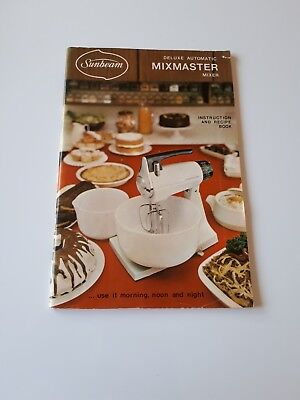 Vintage Sunbeam Deluxe Automatic Mixmaster Owners Manual, Mix Master Kitchenalia
