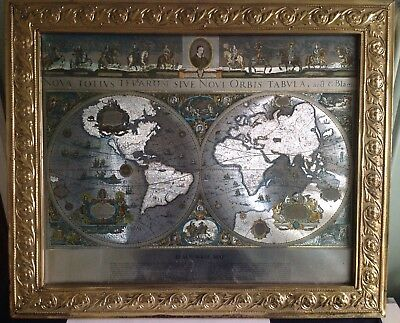 BLAEU WALL MAP OF THE WORLD. Vintage
