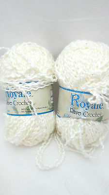 2 Skeins Royale Rave Crochet Polyester / Nylon Yarn - Bone
