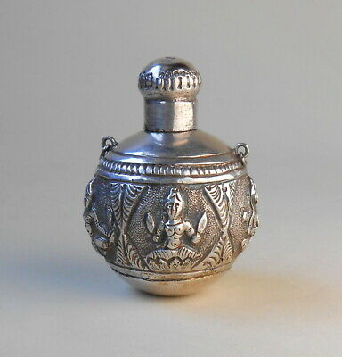 1890s Anglo-Indian Raj Madras sterling silver Swami pendant perfume bottle flask