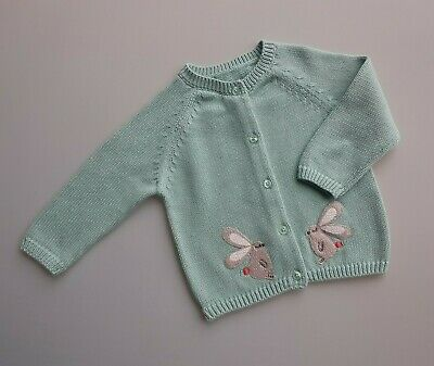 Ex MARKS & SPENCER Baby Girls Green Knitted Cardigan Bunny__6-9 Months / EUR 72