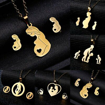 Mother Heart Stainless Steel Women Jewelry Set Gold Chain Necklace Earrings Gift