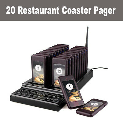 Wireless Calling Paging System Keypad 20CH 1 Transmitter+20 Call Coaster Pagers