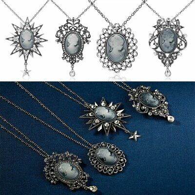 Vintage Cameo Crystal Rhinestone Pendant Necklace Silver Chain Women Jewelry