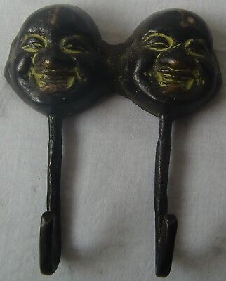 Vintage Hand Crafted Solid Brass Laughing Buddha Wall Hook Cloth Hat Key Hanger