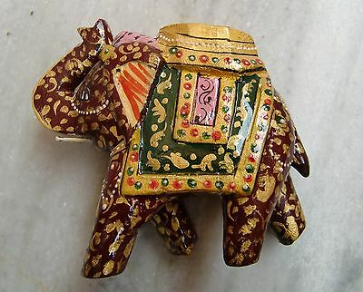 Rare Wooden Handcarved Painted Elephant Beautiful Statue Fine Carving Indian