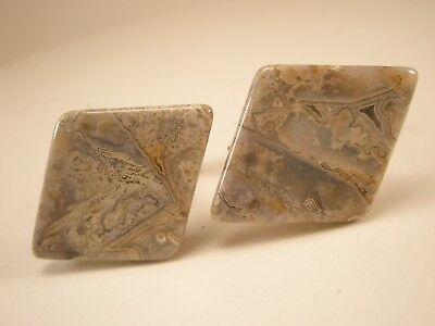 Lace Agate Diamond Shaped Vintage Cuff Links gift