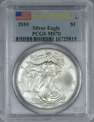 2010 American Silver Eagle PCGS MS70 - First Strike - Flag Label