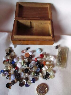 Vtg WOODEN BOX 125+ tiny buttons & hooks for DOLLS CLOTHES MOP metal glass etc