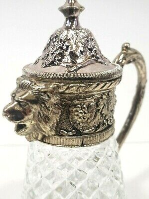 Vintage Silver Plate Lion Head Waffle Pressed Glass Syrup Pitcher