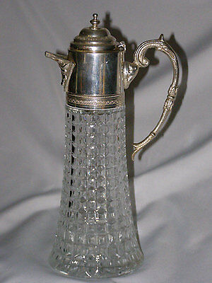 Beautiful Pressed Glass Pitcher with Silver Plate Top - Water-Tea-Sangria-Specia