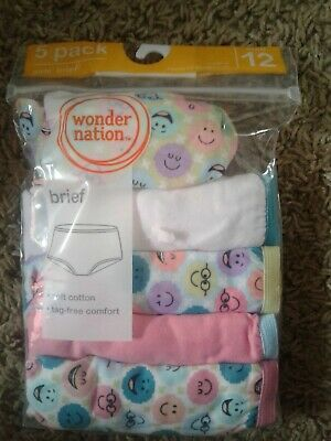 Girls Wonder Nation 5 pack soft cotton hipster briefs size 12 new in bag