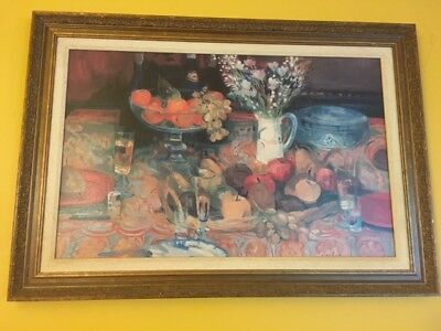 RARE Paul Collomb Beautiful Framed Reproduction Corbeille et Coupe French Artist