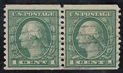 TDStamps: US Stamps Scott#452 1c Washington Used Perf Fold, 24 3/4mm Pair