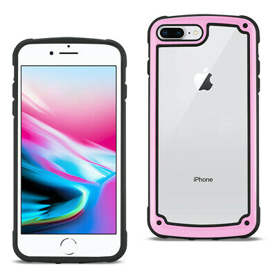 Reiko APPLE IPHONE 8 PLUS Heavy Duty Rugged Shockproof Full Body Case Pink/Clear