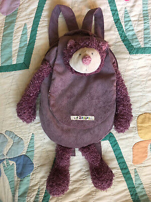 Moulin Roty Les Zazous dusty pink cat plush girls Backpack