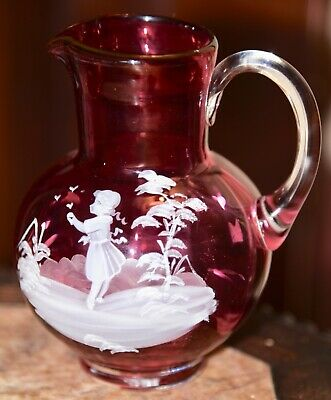 ANTIQUE Bohemian Mary Gregory Cranberry Glass Art Pitcher GIRL FEEDING BIRDS 5""