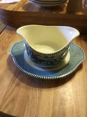 Courier And Ives Gravy Dish And Plate
