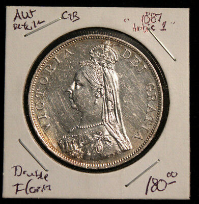 "1887 Great Britain Double Florin  Arabic 1 ""AU+"" Condition   Nice Silver Coin!"