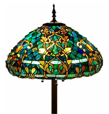 "Tiffany Style Stained Glass Floor Lamp ""Azure Sea"" w/ 20"" Shade - FREE SHIP USA"