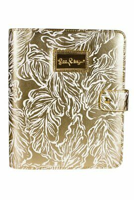 Lilly Pulitzer NWT Gold Metallic Palms Agenda Folio