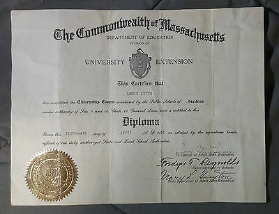 Rare 1931 DIPLOMA COMMONWEALTH MASSACHUSETTS LOUIS ATTER SCHOOL GARDNER
