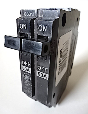 "NEW General Electric 2 Pole 50 Amp Plug-In Thin ""Q"" Circuit Breakers (THQP250)"