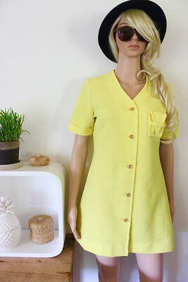bright yellow mini dress 1960s 60s mod genuine vintage retro indie boho surf 70s
