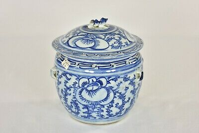 Antique Chinese Blue & White Porcelain Candy Jar / Pot, Foo Dog on Cover, 19th c