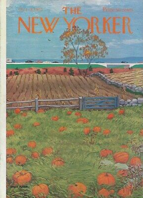 COVER ONLY New Yorker magazine ~HUBBELL ~ October 28, 1972 ~ Pumpkin Field
