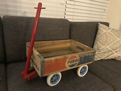 "Vintage Wooden Pepsi Cola Storage Crate 24 Bottle Carrier 18"" x 12"" WAGON Toy"