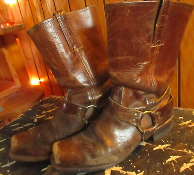 bab56b12eb90a 10 EE 10EE Vtg 70s FRYE Harness Ring Short Motorcycle Boots Brown Leather  Men's