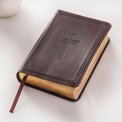 KJV Holy Bible Compact Large Print Brown Lux-Leather Bible, Text size is 10pts