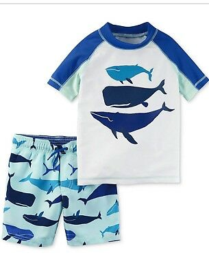 2f438d431d Carter's Toddler Boys 2-Pc. Whale Rash Guard & Printed Swim Trunks Set,