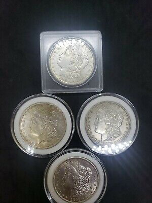 Four BU Morgan Silver Dollar 1921, 1896, 1897S & 1897.