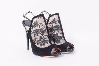 f509d45caf JIMMY CHOO Maylen Suede VE Leather Lace Stiletto Open-Toe Ankle Strap Pumps  8/