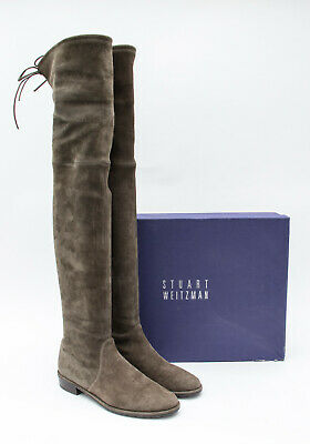 97858d4a4952 STUART WEITZMAN Lowland Loden Suede Leather Olive Green Over the Knee Boots  7