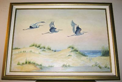 Signed Artist JANKOWSKI Oil Painting Great Egrets Birds Flying Unison Seascape
