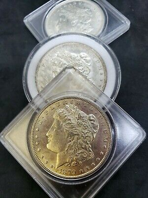 Lot Of Three BU Morgan Silver Dollars 1879-S, 1890-S And 1921