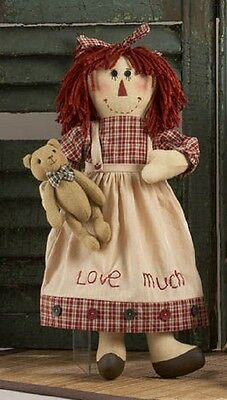 "Primitive Country Rustic Raggedy Doll W / Teddy Bear Doll & "" LOVE MUCH "" Apron"