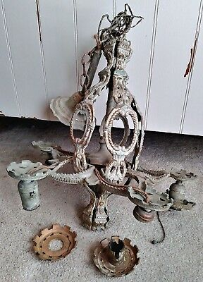 Vintage 1920's Art Deco Hanging Light Fixture 5-Socket Machine Age